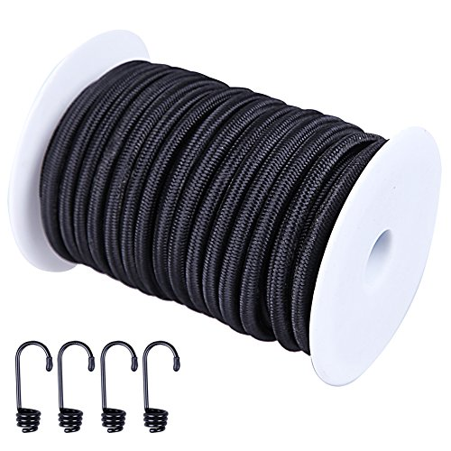 CARTMAN 1/4' Elastic Cord Crafting Stretch String, 40kg x 50ft, with 4 More Hooks, Black Color