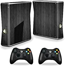 MightySkins Skin Compatible with X-Box 360 Xbox 360 S Console - Black Wood | Protective, Durable, and Unique Vinyl Decal wrap Cover | Easy to Apply, Remove, and Change Styles | Made in The USA
