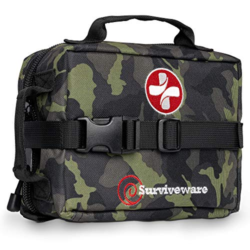 SURVIVEWARE Survival First Aid Kit, Removable MOLLE Compatible System, Emergency Bag for Camping, Hiking, Hurricane and Natural Disaster Preparedness, 180 Pieces, Camo