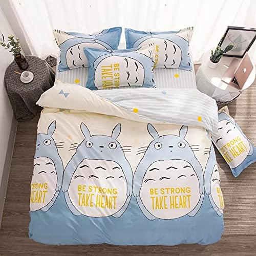 Funda de edredón y Funda de Almohada Family Life My Neighbor Totoro Print 3 Sábanas Funda de Almohada Funda nórdica Juegos de Cama Queen Size y King Size Sin sábanas, sin Regalos