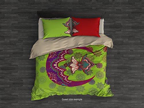 Cool Bedding Moon Mandala Copripiumino Set da 3o 4pz. Boho Copripiumino. Sacro Mandala Bedding Set. King, Queen, Twin, Full Boho Bedding. Sacro Mandala, Green, King 104'x92'