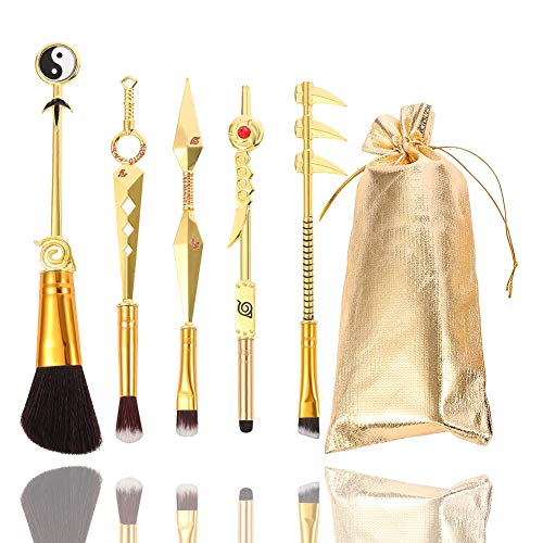 Naruto Makeup Brushes Set with Velvet Gift Pouch Professional Metal Handle Cosmetic Anime Peripheral Cosplay for Weeb Naruto Fans