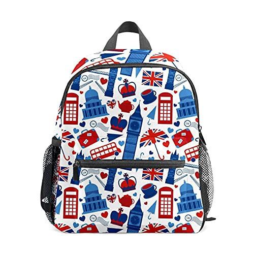 VJSDIUD BackpackUK London Bus Paraguas Big Ben Crown Maleta Imprimir Mochilas escolares Mochila para niño y niña