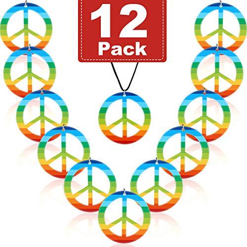 12 Piezas Arco Iris Collares de la Paz Collar de Signo de la Paz de Plástico Accesorio de Vestuario