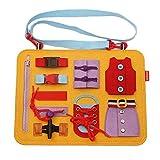 wentgo Toddler Busy Board Montessori Basic Skills Activity Board for Fine Motor Skills
