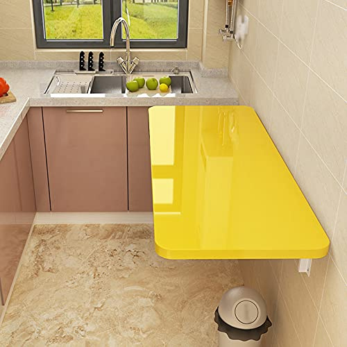 Zhaomi Mesa de Cocina Abatibles Moderna y Minimalista,Mesa Plegable de Pared,Amarilla Mesa...