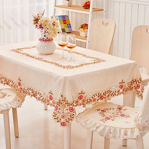 Nappe européenne Tissu Table Tissu Carré Brodé Européenne Nappe Couverture Serviette Table Basse Tissu Rose Modèles (taille : 140 * 195cm)