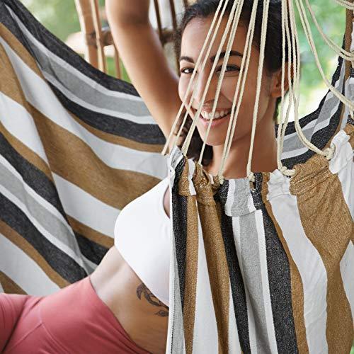 Relaxdays Hängesitz, XL Hängesessel aus Baumwolle, für Kinder & Erwachsene, Aufhängung, In-& Outdoor, 150 kg, grau/weiß - 3