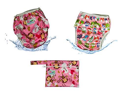 MARIPOSA   Costume Neonata Mare - Pannolino Contenitivo Lavabile e Regolabile - Bambina 0-2 anni - Set 2 Pannolini Piscina con Borsetta Impermeabile Inclusa (Gufetti e Scimmiette)