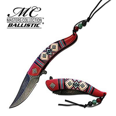 8.5 Native American Indian Spring Assisted Open Pocket Knife Damascus RED FEATHER - Firefighter Rescue Pocket Knife - Hunting Knives, Military Surplus - Survival and Camping Gear