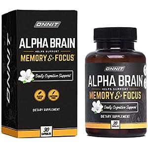 ONNIT Alpha Brain (30ct) - Premium Nootropic Brain Supplement - Focus, Concentration & Memory - Alpha GPC, L Theanine & Bacopa Monnieri
