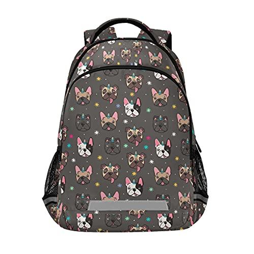 Cute Pug Dog French Bulldog Unicorn Backpacks Travel Laptop Daypack School Book Bag for Men Women Teens Kids