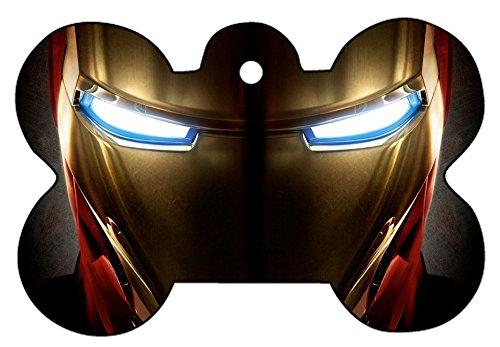 Iron Man War Machine Art Dog Pet Cat ID Tag Bone Shape Image PhotoPersonalized with Key Ring (Face)
