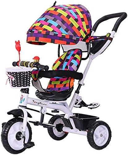 4-in-1-Dreirad-Kinderwagen für Kinder Trike-Klapprad mit Sicherheitsgurt und abnehmbarem Markise-Trolley für 6 Monate - 6 Jahre