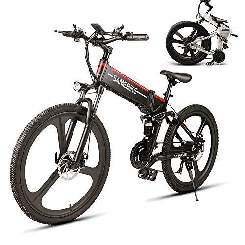 LCLLXB SIMEBIKE 26 Pulgadas neumático Gordo Bicicleta eléctrica 350W 48V Nieve E-Bici Beach Cruiser Hombre Mujeres Montaña e-Bike Pedal Assist, batería de Litio Frenos de Disco,BLCK