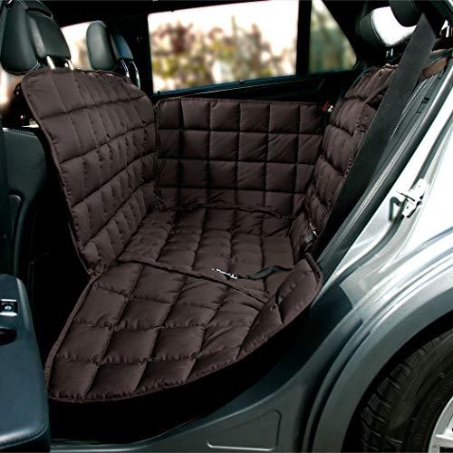 Doctor Bark Hunde 2-Sitz-Autoschondecke für die Rücksitzbank, All-Side Schutz mit Reißverschluss für alle PKWs und SUVs, L in Braun