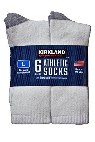 Kirkland SignatureTM Mens Athletic Sock 6-Pack, Large, Shoe Size: 8-12