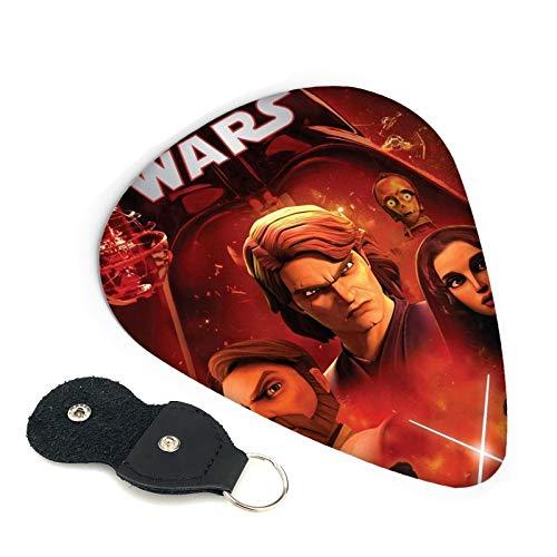 Star Wars 6 púas de guitarra de doble cara con llavero de cuero