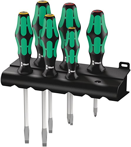 Wera 334 SK/6 Rack Schraubendrehersatz Kraftform Plus Lasertip + Rack, 6-teilig, 05007680001