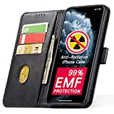 YUEKAI EMF Protection iPhone 11 Pro Wallet Case with Card Holder, 99% Anti-Radiation, PU Leather Flip Case with Kickstand and Magnetic Closure, TPU Shockproof Interior Cover for iPhone 11 Pro (Black)