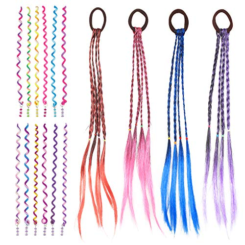 BIGKASI 16 TLG Bunte Haarsträhnen & Haar Torsion Set 4 * Geflochtenes Haargummiband Haarteile Dirty Braid und 12 * Farbiger Spirale Haarschmuck Haar Styling DIY Zubehör...