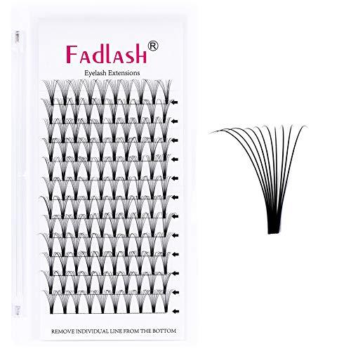 Extensiones de Pestañas Seda 10D 0.10mm C curl 10mm Volumen Ruso Premade Fans Individuales Natural Profesional Lash (10D-0.10C-10mm)