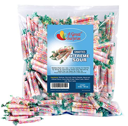 Smarties Candy Rolls Bulk - X-Treme Sour Flavored Candies - Pink Candy - 4LB Party Bag, Family Size, Bulk Candy