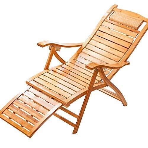 WYJW Mecedora Sillón reclinable de bambú Mecedora, reposapiés Ajustable Sillón reclinable Relajante Sillón para jardín Sillón reclinable Tumbona