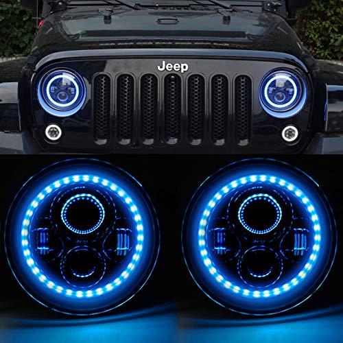 HOZAN 7inch Blue Halo Headlight with Hi/Low Beam DRL Ring Compatible with Wrangler JK JKU TJ CJ LJ Rubicon Sahara LED Headlight -2 Pack