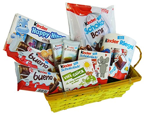Cesta Regalo para Pascua, San Valentin, Navidad y Aniversario con Ferrero Kinder Especialidades (9 piezas)