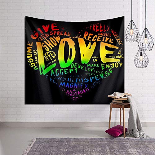 Tidyki LGBT Pride Rainbow Heart Gays Lesbians Tapestry Wall Hanging Hippie Tapestries Wall Blanket Art for Living Room Bedroom Home Decor 40x60 Inch