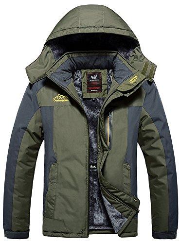 Mochoose Uomo Outdoor Mountain Impermeabile Windbreaker Vello Neve da Sci Giacche con Cappuccio Sportwear Rain Coat Campeggio Pesca Caccia Working Jacket(Army Green,L)