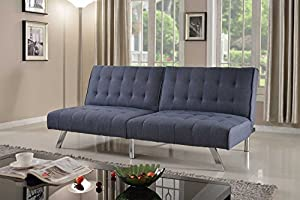 77x47x16 Sleeper 77x36 Sofa Blue Microfiber With Adjustable Back Klik Klak Sofa Futon Bed Sleeper 2 Position Function - Sturdy Wood Legs Brand New - Made in China Made in China