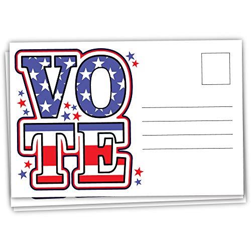 100 Vote Postcards - Patriotic Blank Postcards for Voting Campaign