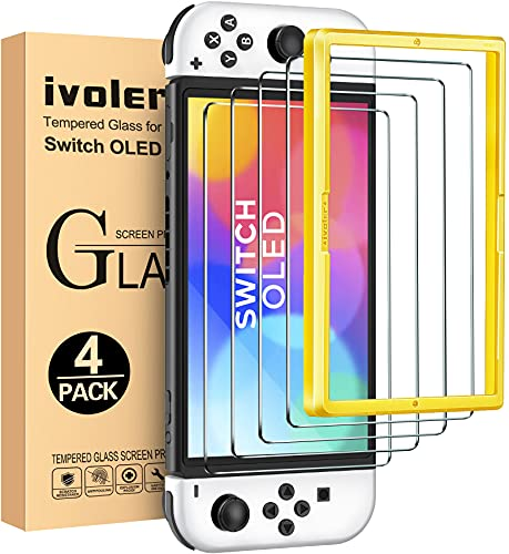 ivoler 4 Unidades Protector de Pantalla Compatible con Nintendo Switch OLED Modelo 7 Pulgadas 2021 Modelo, Incluye Marco de Instalación Fácil, Cristal Vidrio Templado Premium