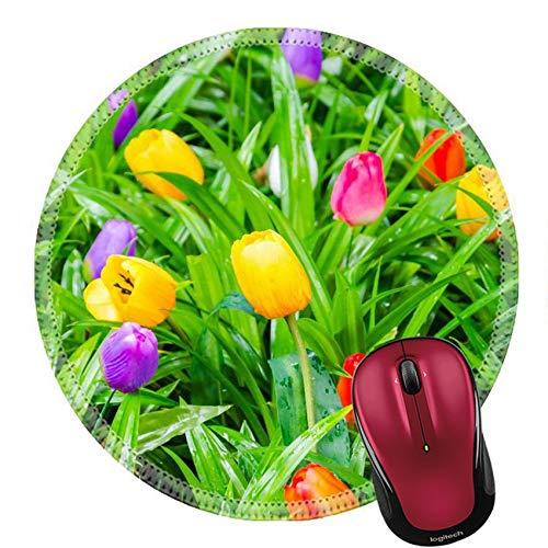 Mauspad Naturkautschuk Runde Mousepad Gefälschte Bunte Tulpen 20Cm