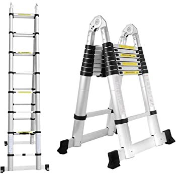 BMOT 5(2,5+2,5) M Escalera telescópica de Aluminio Fuerte Estabilidad Escalera plegable Escalera alta multifuncional para loft 8+8 Escalones Antideslizantes Carga 150 KG: Amazon.es: Bricolaje y herramientas