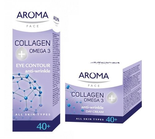 Aroma Collagen + Omega3 Set - Anti Wrinkle Day Cream 50ml & Eye Cream 15ml with Symrepair and Vitamin E (For Ages 40+) by Aroma Face