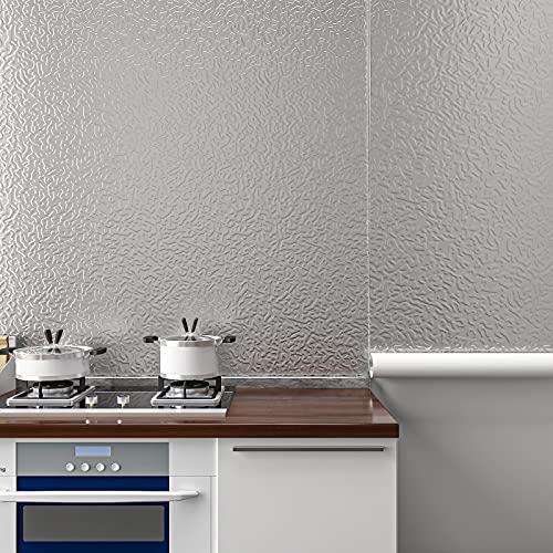 Cre8tive Papel de contacto de acero inoxidable plateado de 60,96 x 299,72 cm, lámina de aluminio resistente al calor, resistente al...