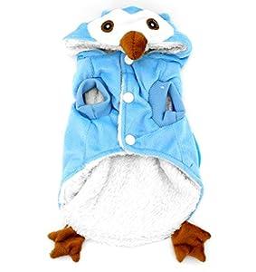 smalllee _ LUCKY _ ranger pour chien/chat en polaire Motif chouette Costume pyjama CHIOT Manteau d'hiver pour petit chien de moins de 9kg