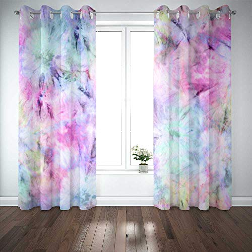 Dethel 52X84 Inch Side Window Curtains, Large Window Curtains Pastel Tie Dye Window Valance Curtains for Bedroom,2 Pc