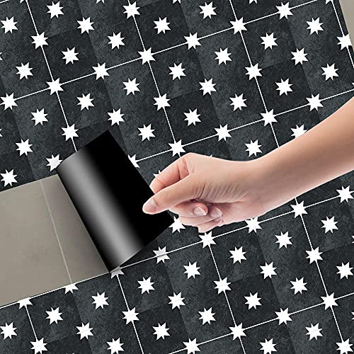 Azulejos Adhesivos Negro, Blanco, RetroVinilosCocinaAzulejosAntisalpicadurasVinilosBañoAzulejosImpermeableVinilosdeparedDecorativosPinturaparaAzulejosAdhesivodePared 20x100cm/3pcs