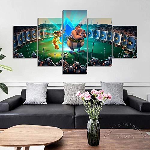 ZHANGGONG Dukens tryck kreativ present 5 delar duk bilder moderna väggmålningar XXL vardagsrum heminredning inramad målning speltillbehör Asterix Obelix väggmålning ram/100 x 55 cm