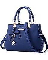 Clearance!KingWo Women Leather Handbag Shoulder Bag Messenger Satchel Shoulder Crossbody,bowknot star pendant decoration (Blue)