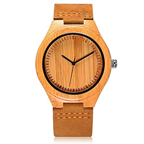 CUCOL Men's Bamboo Wooden Watch with Brown...