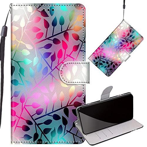 Yiizy Handyhüllen für LG K50S, Blätter Ledertasche Flip Hülle Wallet Stylish mit Standfunktion Magnetisch PU Tasche Schutzhülle passt für LG K50S Smartphone