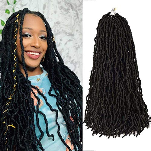 Nu Locs 24 Inch Crochet Braids Hair 6 Packs/lot 100% Premium Fiber Synthetic Hair for Women Curly Wavy Goddess African Roots Soft Hair Extensions (6 Pack/Color #1B)