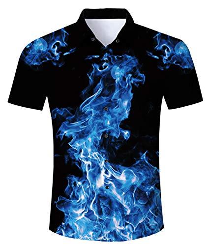 Idgreaim Herren Hawaiihemd 3D Prined Galaxy Hemden Shir Männer Coole Grafik Hemden Shirs