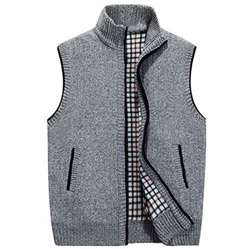 Mens Winter Wool Sweater Vest Mens Sleeveless Knitted Vest Jacket Warm Fleece Sweatercoat Light Gray XXXL