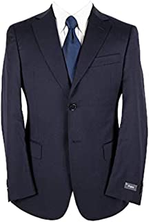 Zegna Navy Blue Wool Twill Dual Vents Flat Front 2Btn Suit 38S